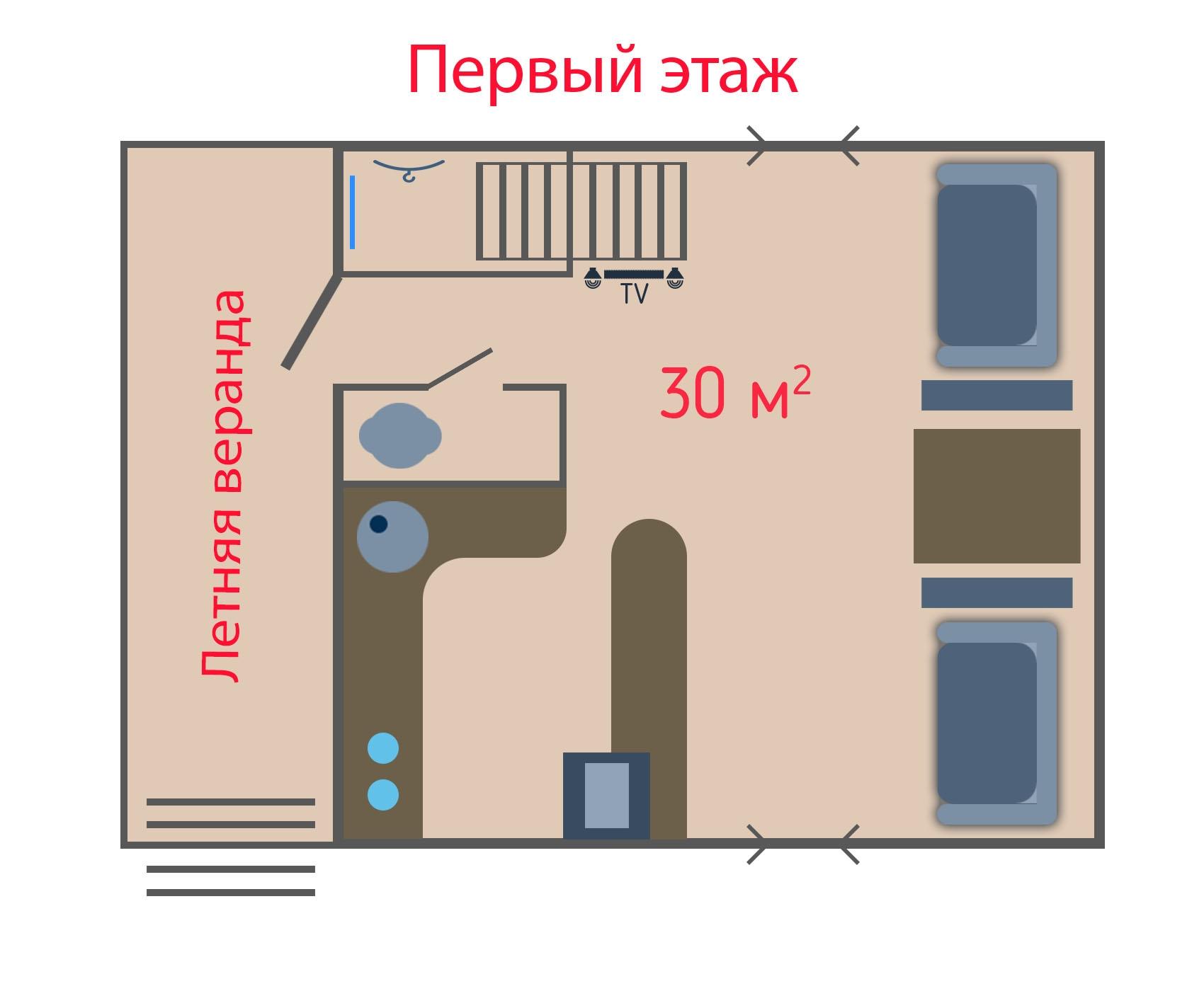 Первый этаж Двухэтажных Люксов